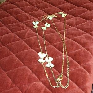 Long White Bow-Tie Gold Crystal's Necklace
